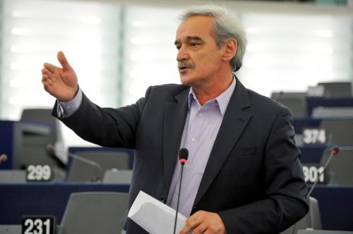 Ο ευρωβουλευτής της Λαϊκής Ενότητας (ΛΑΕ) Νίκος Χουντής στα Χανιά.