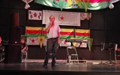 Χαιρετισμός Δ. Στρατούλη από ΛΑΪΚΗ ΕΝΟΤΗΤΑ στην εκδήλωση για τα 15 χρόνια του κόμματος Δημοκρατικής Ένωσης (PYD) των Κούρδων της Συρίας.